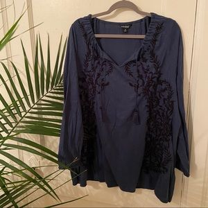 Lucky Brand Blue Embroidered Boho Peasant Top